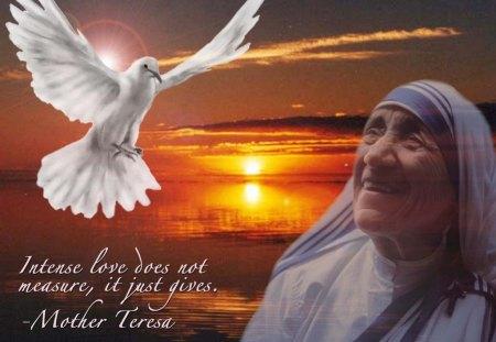 Mother Teresa - Mother Teresa, peace, giving, humble, humanitarian, dove, love
