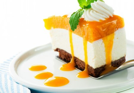 Sweets desserts - cake, mint, delicious, sweets, slice, desserts, cream