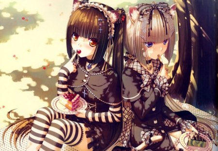 cute girls - catgirl, dress, little, brown, two girls, thigh highs, bows, nice, young, girls, long hair, food, ribbens, catgirls, sexy, cat, cute, lovley, stockings, girl, uniform, frills, cats, two tails