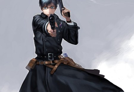 Okumura Yukio - ao no exorcist, cg, guy, okumura yukio, yukio okumura, gun, anime, handsome, okumura, weapon, realistic, pistol, male, black, blue exorcist, plain, yukio, boy, 3d, dark, simple