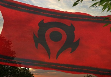Battle Banner of the Horde - Horde, world of warcraft, World of Warcraft, warcraft, Orgrimar, orgrimar, horde, Flag, wow, WoW, Warcraft