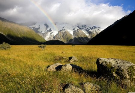 mountain rainbow - rainbow, mountains, clouds, valley
