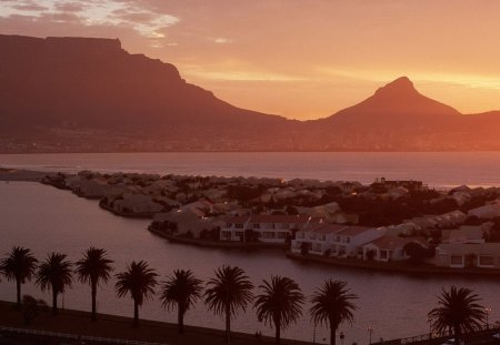 table top mountain over cape town so. africa - mountain, sunset, city, bay