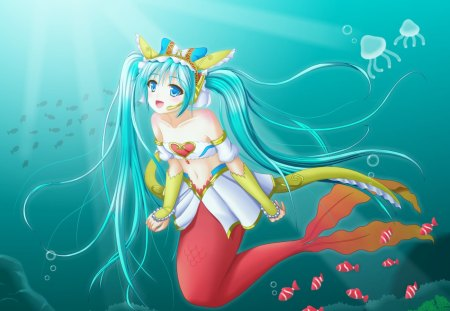 Mermaid Miku - fish, hatsune miku, tails, jelly fish, fantasy, anime, hot, anime girl, vocaloids, long hair, blue eyes, vocaloid, underwater, female, miku, mermaid, twintails, sexy, cute, water, girl, green hair