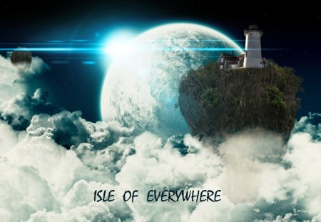 ISLE Of EVERYWHERE - Star, Space, Photoshop, Sunset, Blue, White, Cloud