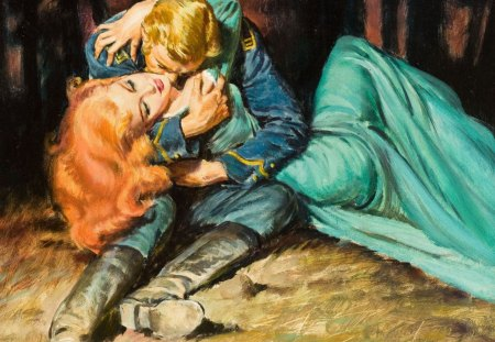 Power of love! - pretty, walter baumhofer, blond, redhead, together, fine art, beautiful, kissing, old, kiss, nice, paintings, green, beauty, couple, valentines day, art, soldier, lovely, romantic, romance, gown, hugs, passion