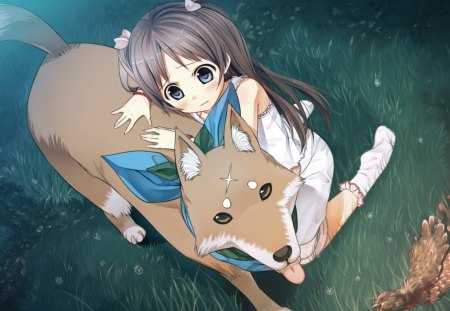 brunettes_blue_eyes_grass_dogs_long_hair_socks_scar_visual_novel_twintails_game_cg_hair_ornaments_cu_ - girl, anime, friends, dog