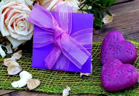 Purple Gift of L♥ve - for u, purple, romance, love, roses, gift, hearts