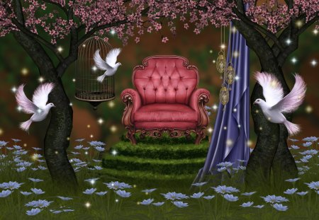 ✰Nymphs in the Forest✰ - fantasy arts, pretty, splendid, grass, woods, creations, curtain, beautiful, leaves, fantasy, splendor, flowers, forests, animals, cages, lovely, lamps, colors, birds, velvet chair, creative pre-made, hanging, trees, fantasy aficionados, cool, mixed media, nymphs