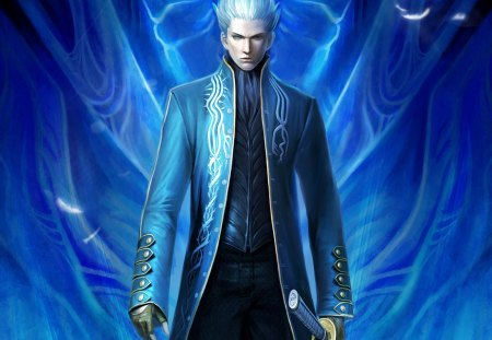 Vergil - glow, cg, guy, white hair, devil may cry, blade, anime, handsome, hot, weapon, realistic, sword, light, blue, male, short hair, cute, vergil, boy, 3d, silver hair