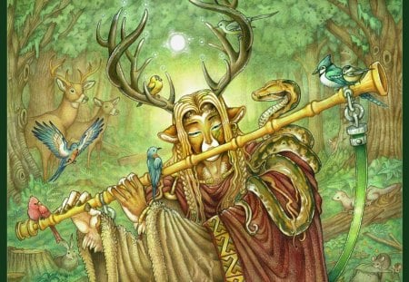 Cernunnos - gallic, elves, celtic cross, nordic, wild, pagan, celtic, wood, north, Cernunnos, forest, celts, barbarian, myth, paganism, nature, cross, viking