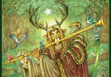 Cernunnos - elves, celtic cross, barbarian, north, cross, celtic, forest, celts, nordic, Cernunnos, viking, pagan, paganism, myth, nature, wood, gallic, wild