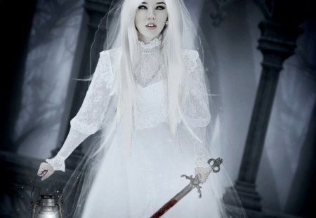 Please Forgive Me - fantasy, white, blood, lady, knife