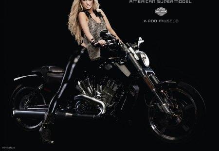 marisa miller harley-davidson v rod muscle - marisa miller, motorcycle