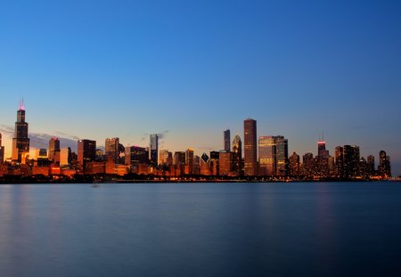 sunset on a chicago skyline - sunset, city, lake, skyline
