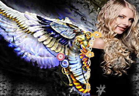 wings - blonde, wings, girl, angel