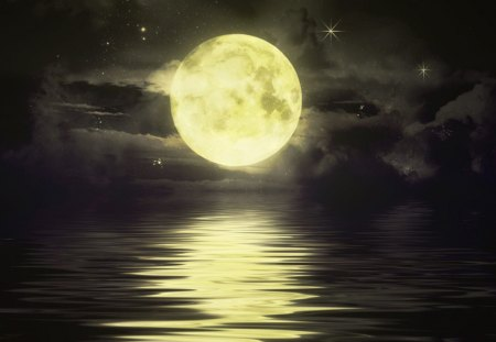 a full moon - oceans, nature, moon, full