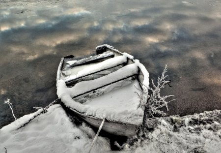 Boat in Winter - water, season, Snow, lake