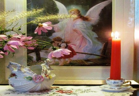 Angel - protector, angel, children, abstract, prayer, still life, photography, flowers, icon, faith, candel