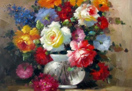 Flowers - painting, flowers, nature, oil