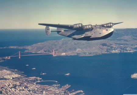 boeing 314 clipper sea plane over frisco - military, sea plane, bay, city, bridge