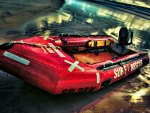 inflatable rescue boat on the beach hdr