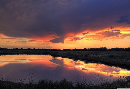 pond in wetlands at sunset - pond, wetland, sunset, reflection, clouds