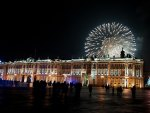 fireworks over winter palace in st. petersburg