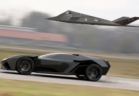 Lamborghini Akonian Concept With Nighthawk Jet Fighter Lamborghini