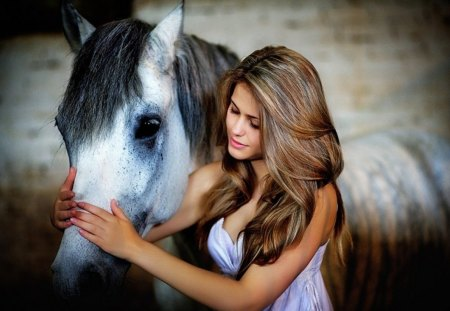 Lovely - lovely, model, horse, girl
