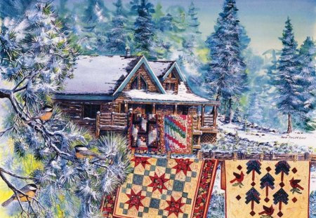 bye bye winter ! - patchwork, quilt, cabin, winter