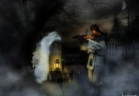 Shepherd and the Maiden Ghost - night, maiden, fantasy, ghost, shepherd