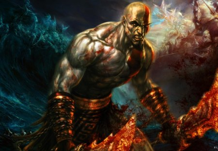 God of War - weapons, games, male, warrior, video games, kratos, god of war