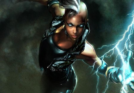 Storm - glowing eyes, games, white hair, video games, x-men, gloves, x men, anime, blue eyes, female, electricity, xmen, storm, mohawk, lightning, lone, vest