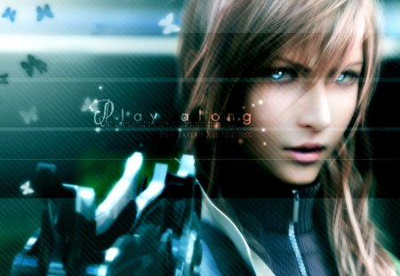 Play Along - games, cg, ff13, video games, lightning, claire farron, final fantasy xiii, ffxiii, lightning farron, weapon, blue eyes, realistic, pink hair, final fantasy 13