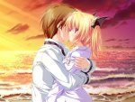 Konachan.com - 2389 beach blonde_hair clouds game_cg hug kiss magus_tale nina_geminis sky tenmaso