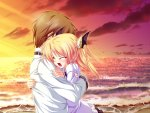 Konachan.com - 2383 beach blonde_hair blush clouds crying game_cg hug magus_tale nina_geminis sky tears tenmaso