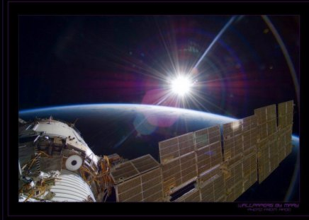 Dawn At The Space Station - Sunrises, SpaceStation, Space, NASA, Nature