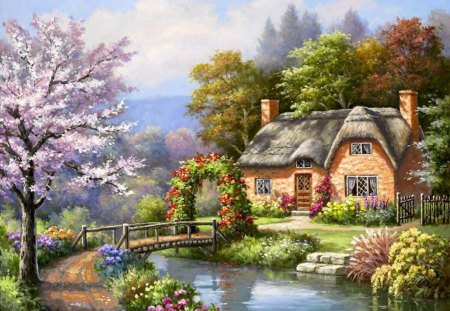 By Sung Kim - art, tree, cottage, Sung Kim, painting, river