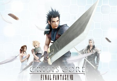 Crisis Core - ff7, ffvii, games, zack fair, final fantasy 7, video games, white background, aerith gainsborough, weapon, sword, feathers, sephiroth, cloud, aerith, final fantasy vii, cloud strife, zack, buster sword, crisis core