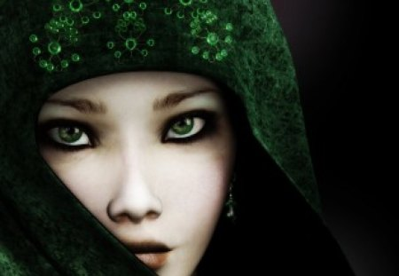 mysterious girl,cute,emerald eyes - cute, mysterious, green, girl