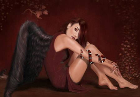 Fallen Angel - wings, snake, cross, rat, angel, fallen, rosary, lizard, leaves