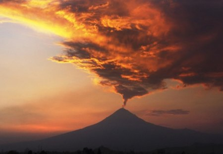 Fire from the deep of Earth - sunset, volcano, clouds, landscape