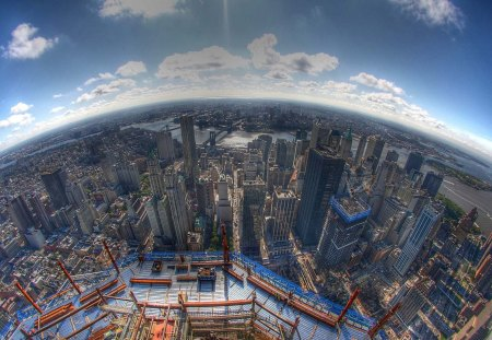 fabulous fish eye view of nyc from up high hdr skyscrapers
