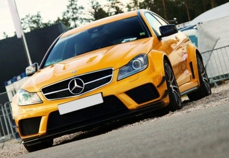 c63 amg black series - benz, yellow, mercedes, car