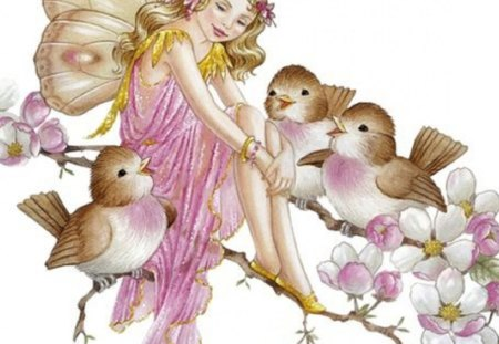 Enjoying the Company of Feathered Friends - fantasy, birds, butterfly fairy, abstract, friends