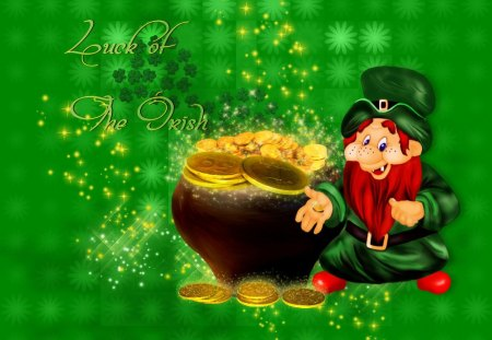 Luck of the Irish - irish, gold, green, clover, st patricks day, leprechaun