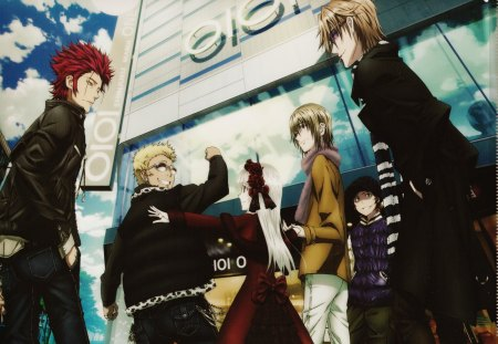 K Project - red king, looking away, pants, mikoto suoh, cigarette, group, anime, anime girl, kusanagi Izumo, long hair, open jacket, highres, kamamoto rikio, earrings, pendant, open mouth, sky, sexy, jewelry, short hair, building, cute, suoh, jacket, totsuka tatara, scarf, mikoto, red eyes, hair ornament, dress, smoking, red dress, glasses, sunglasses, k project, hot, female, cloud, male, choker, misaki yata, smile, yellow eyes, brown eyes, hat, scan, boy, girl, holding hands, hands in pockets, kushina anna
