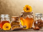***Jars of sweet honey and yellow gerberas ***
