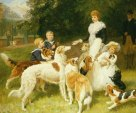 Children and dogs by Frederick Morgan